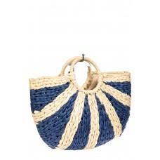 На фото 1 - Женская сумка плетеная из соломы с круглой ручкой, цвет синий