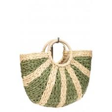 На фото 1 - Новинка: женская сумка плетеная из соломы с круглой ручкой, цвет зеленый