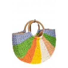 На фото 1 - Женская сумка плетеная из соломы с круглой ручкой, цвет мульти