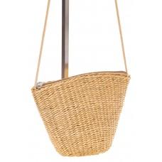 на фото Соломенная сумка-ведро бежевого цвета 3781