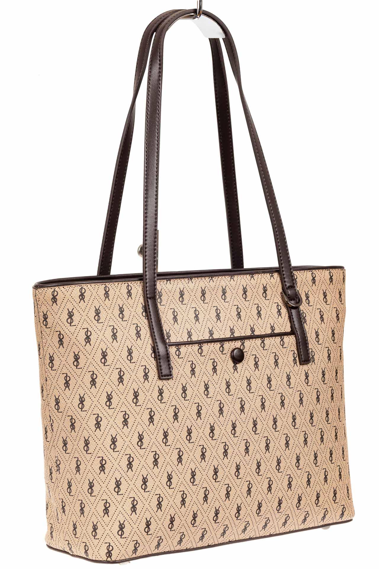 Женская сумка шоппер из искусственной кожи, цвет бежевый с принтом3799PJ0420/10