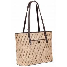На фото 1 - Женская сумка шоппер из искусственной кожи, цвет бежевый с принтом