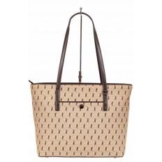 На фото 2 - Женская сумка шоппер из искусственной кожи, цвет бежевый с принтом