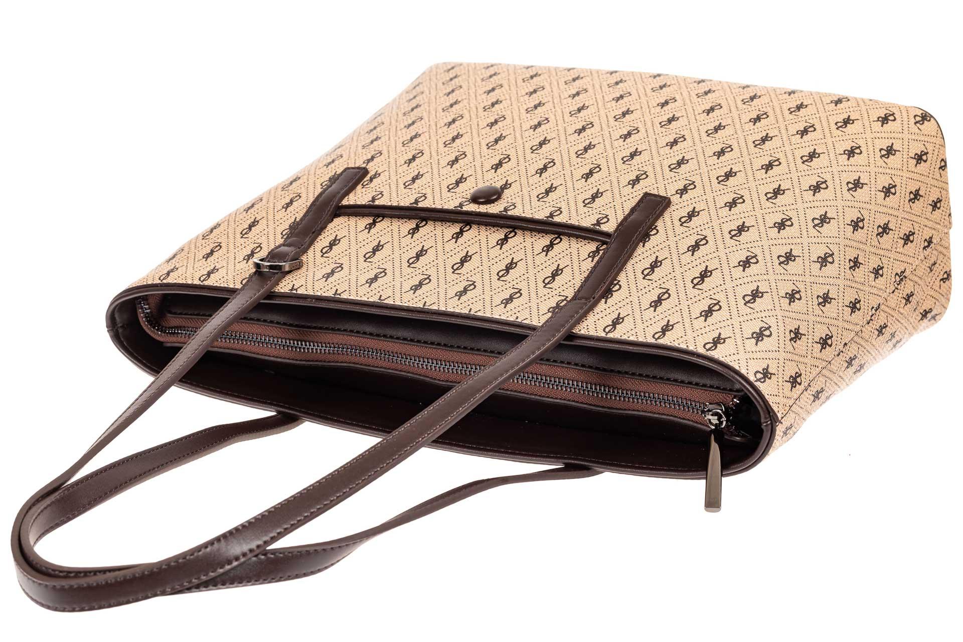 На фото 4 - Женская сумка шоппер из искусственной кожи, цвет бежевый с принтом