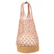 На фото 1 - Плетеная сумка-сетка из джута, цвет пудровый