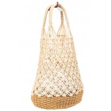На фото 1 - Плетеная сумка-сетка из джута, цвет молочный