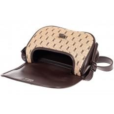 На фото 4 - Сумка кросс-боди из принтованной экокожи, цвет бежевый с коричневым
