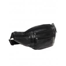 На фото 1 - Поясная мужская сумка из мягкой натуральной кожи, цвет чёрный