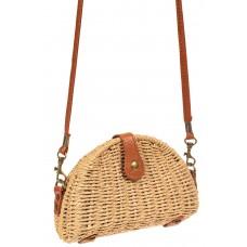 На фото 1 - Компактная соломенная сумка на длинном ремешке, цвет бежевый