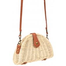 На фото 1 - Компактная соломенная сумка на длинном ремешке, цвет молочный