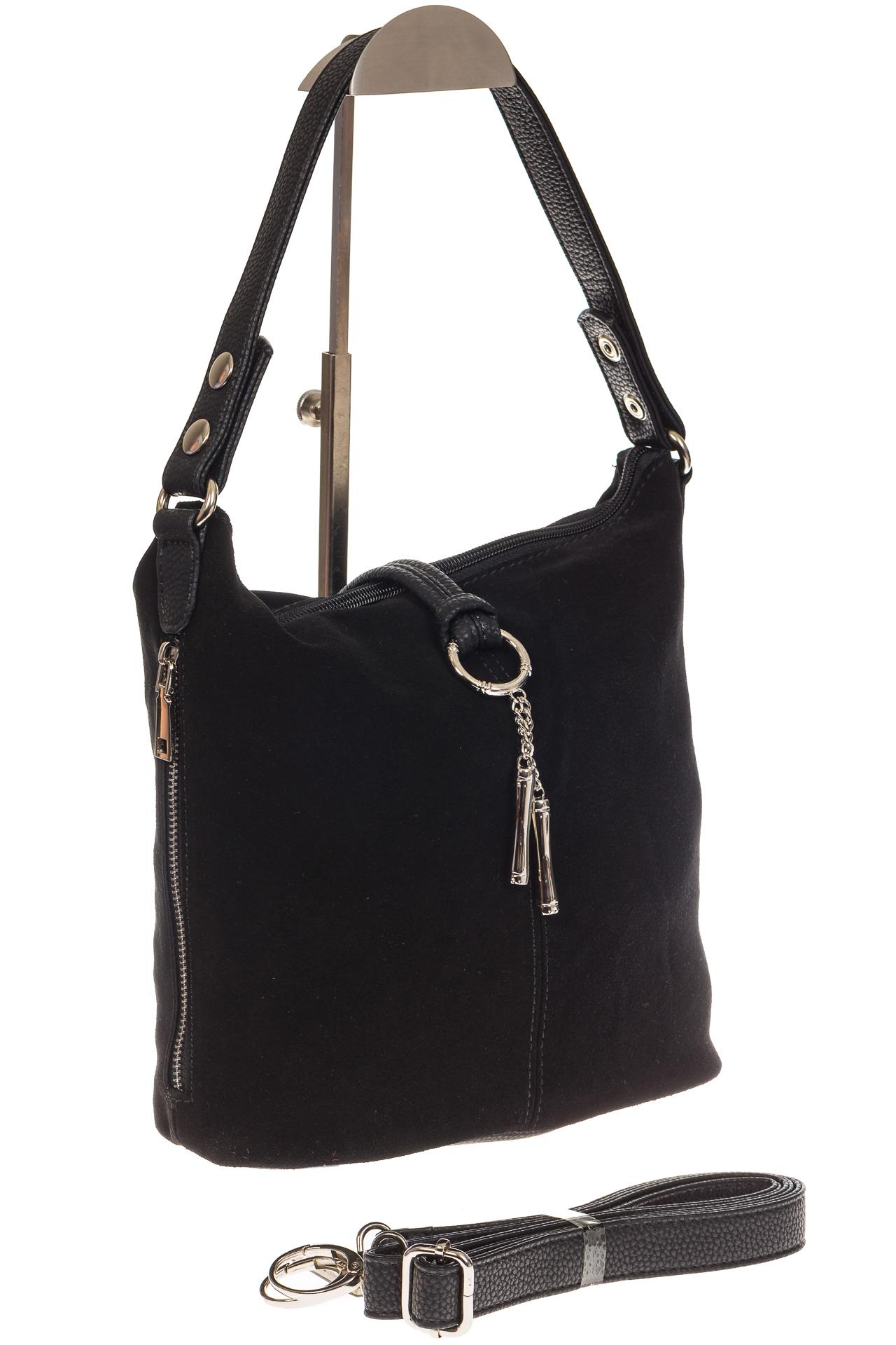 На фото 1 - Черная сумка хобо из натуральной замши