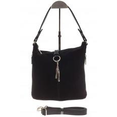 На фото 2 - Черная сумка хобо из натуральной замши