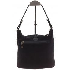 На фото 3 - Черная сумка хобо из натуральной замши