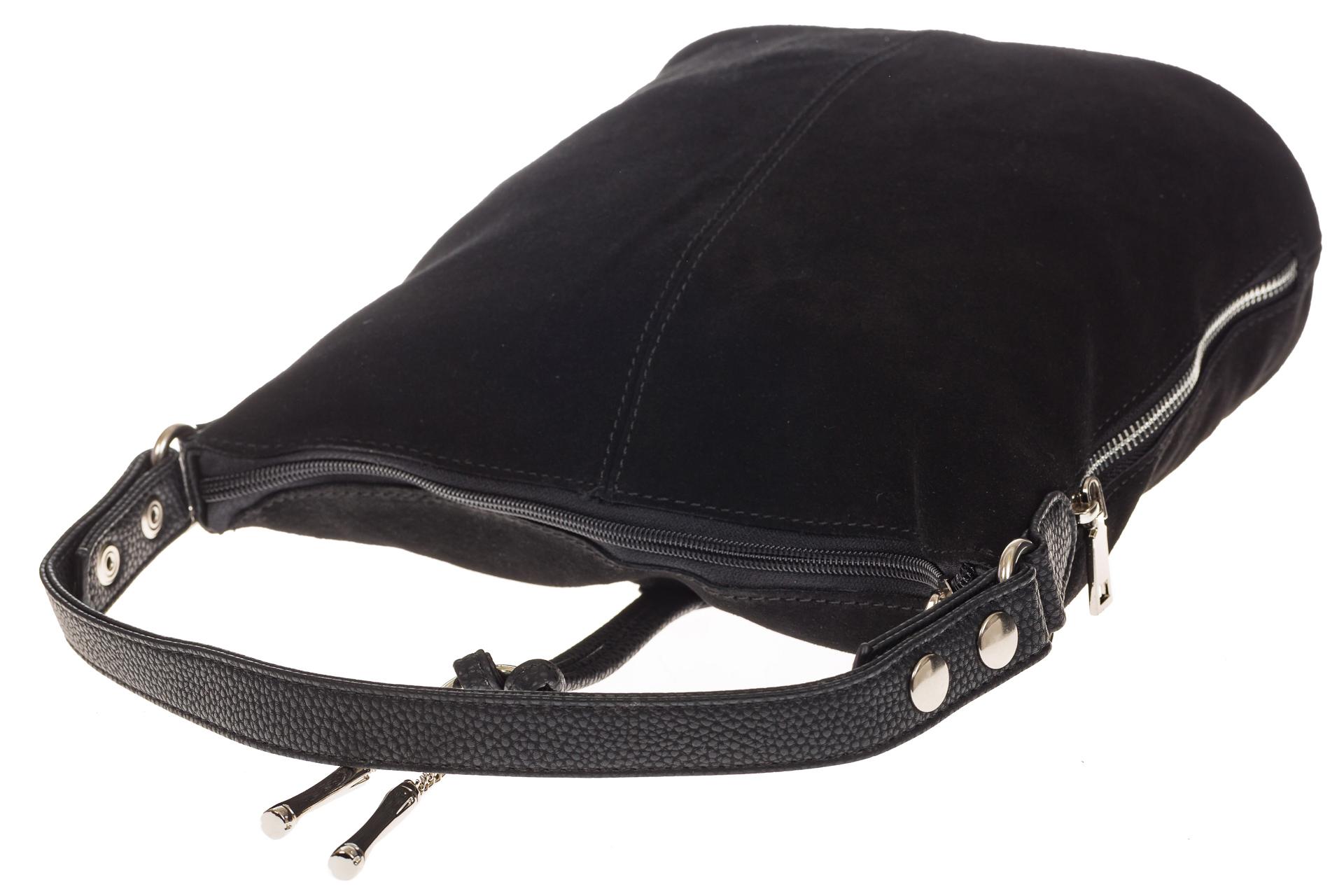 На фото 4 - Черная сумка хобо из натуральной замши