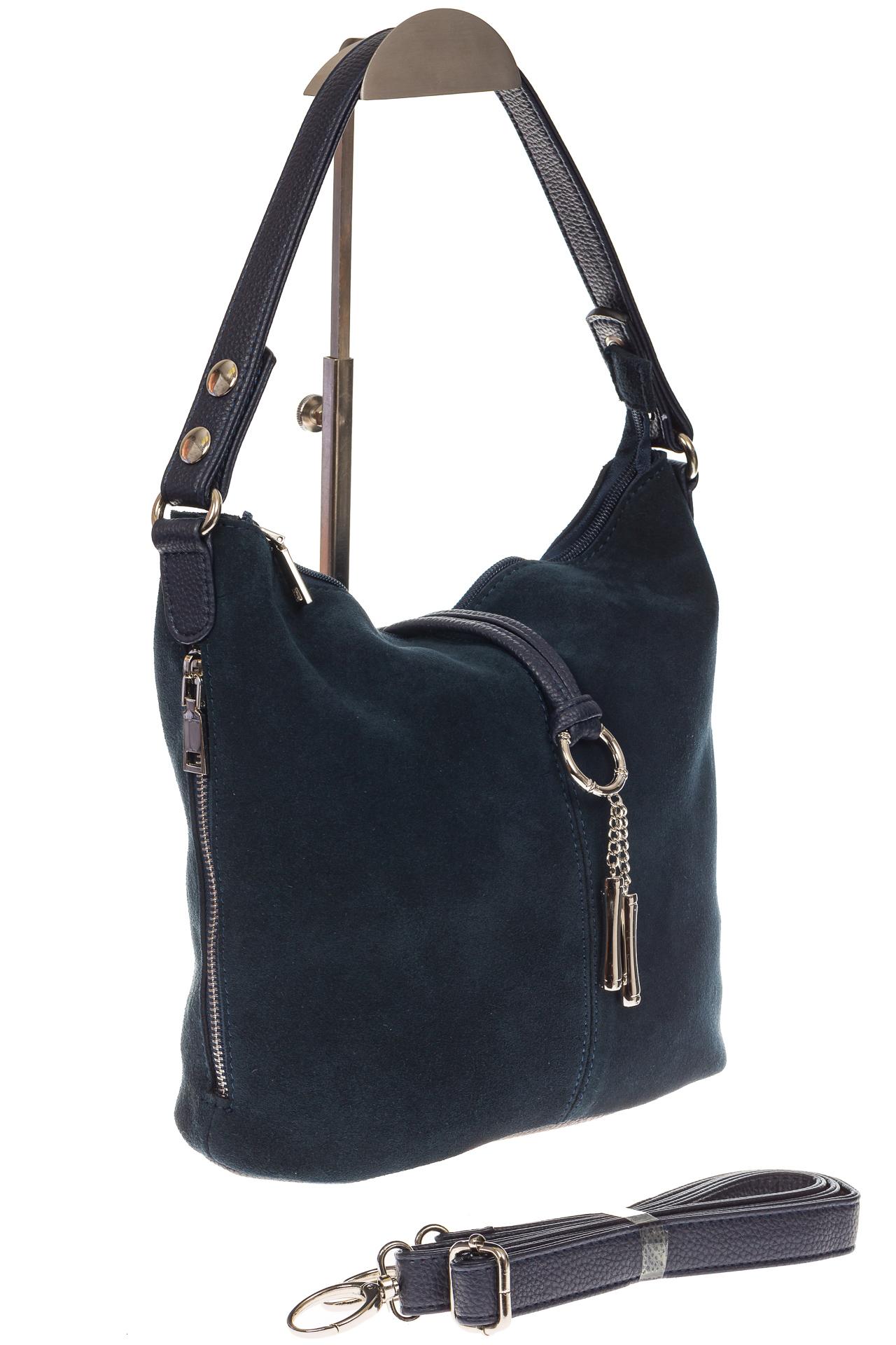 На фото 1 - Серо-синяя сумка хобо из натуральной замши