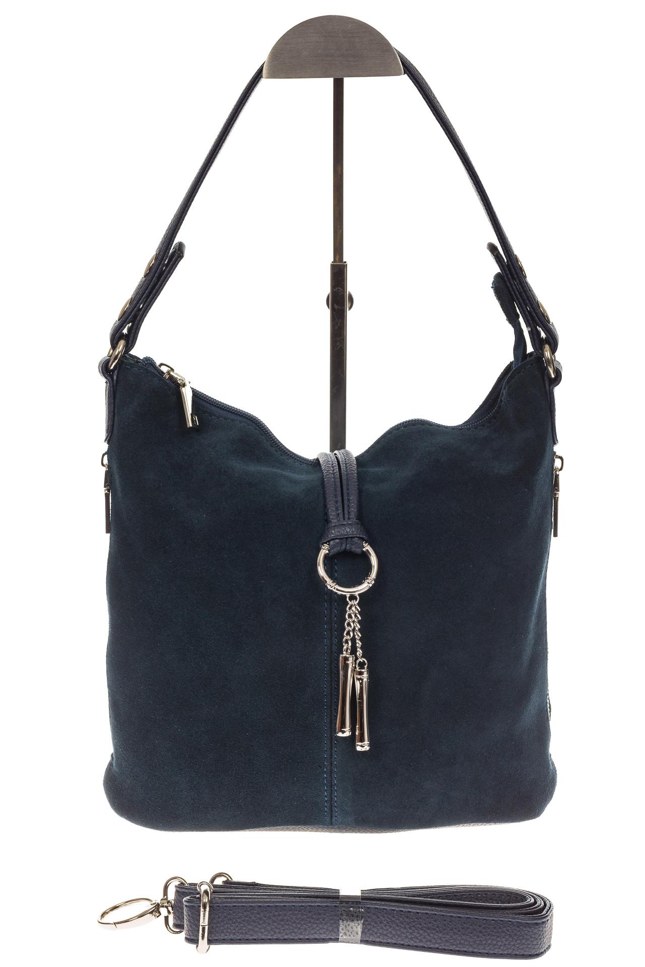 На фото 2 - Серо-синяя сумка хобо из натуральной замши
