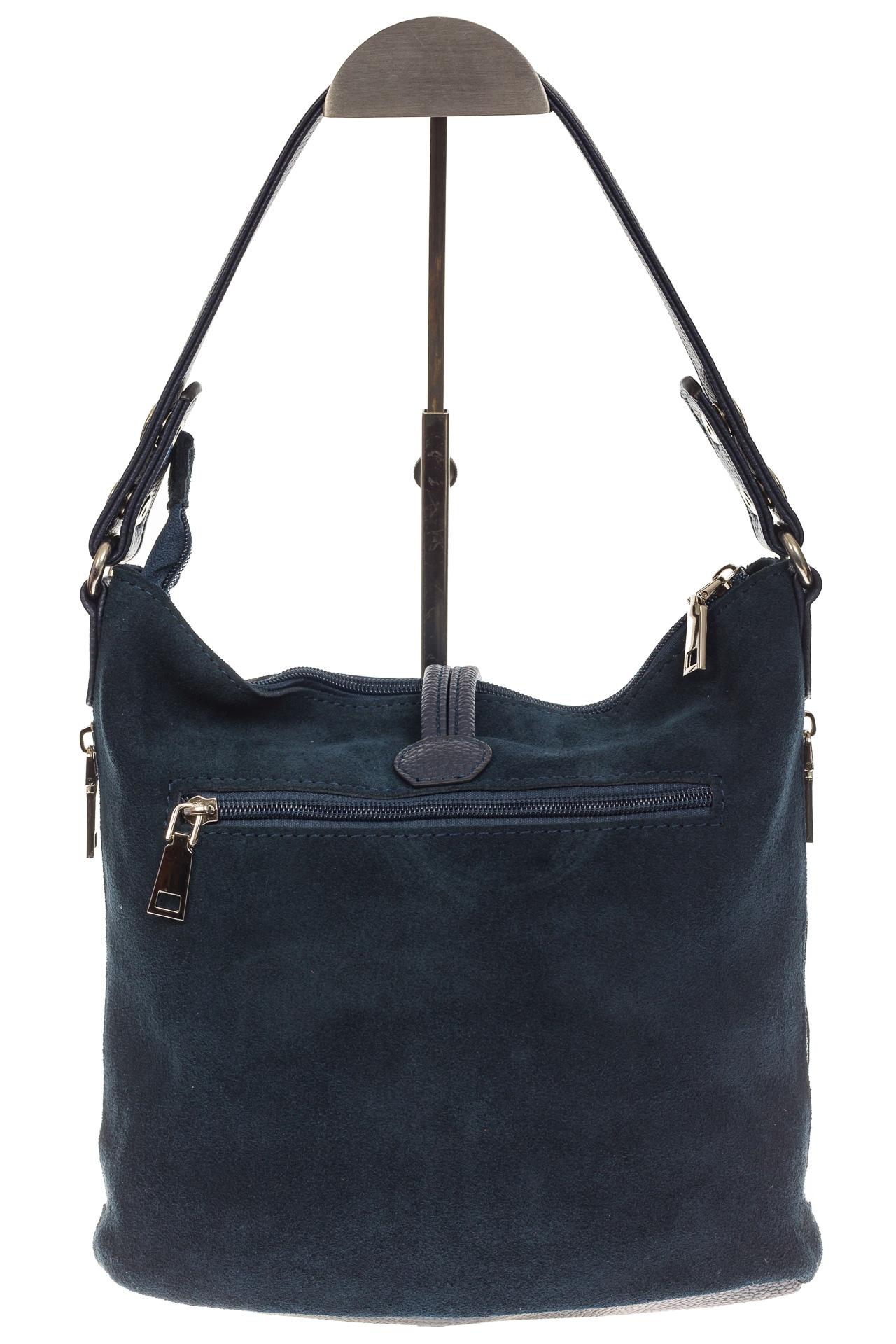На фото 3 - Серо-синяя сумка хобо из натуральной замши