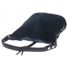 На фото 4 - Серо-синяя сумка хобо из натуральной замши