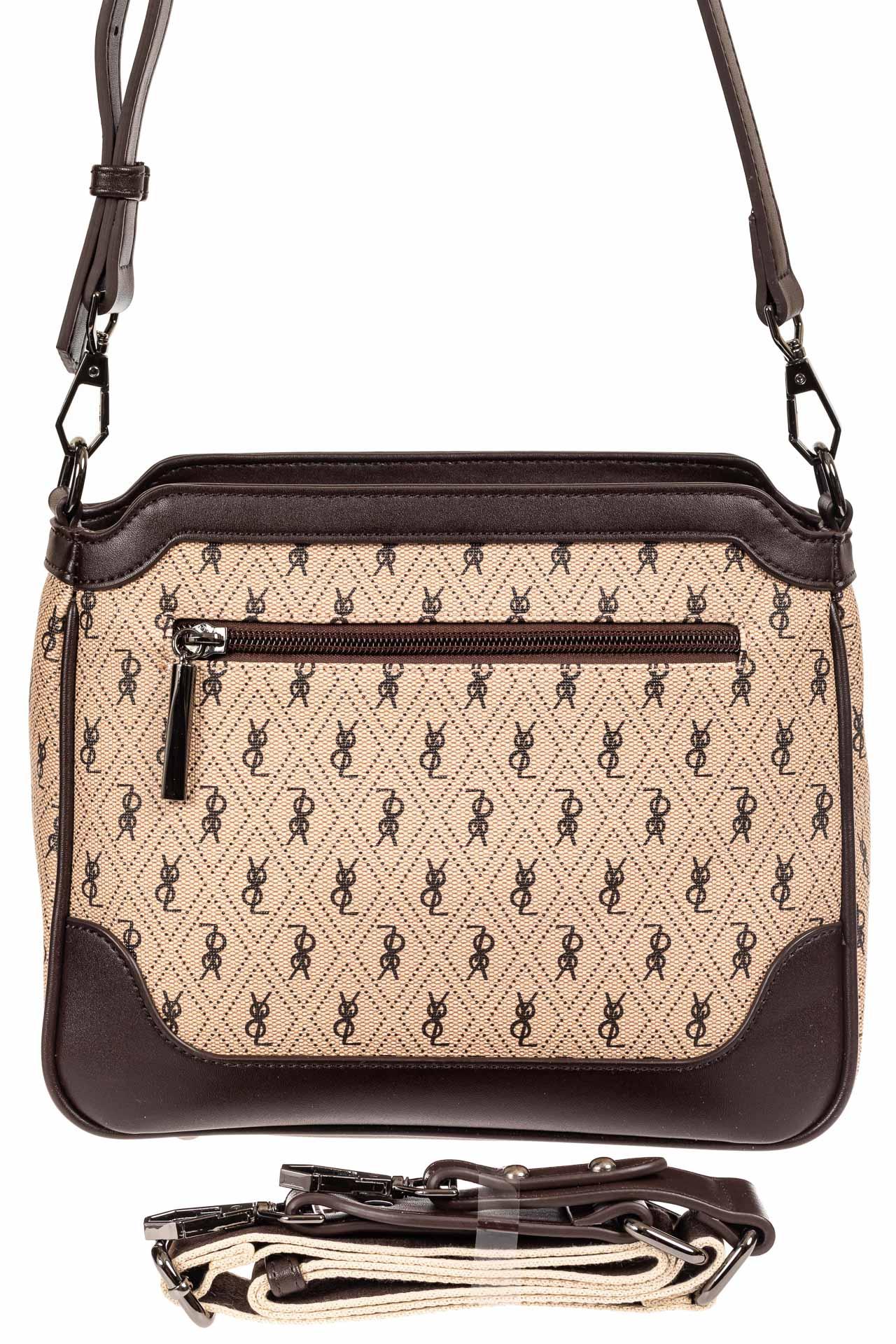 На фото 3 - Женская классическая сумка из кожзама, цвет бежевый