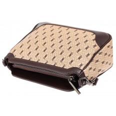На фото 4 - Женская классическая сумка из кожзама, цвет бежевый