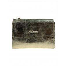 На фото 1 - Женский бумажник из кожи, цвет золотой