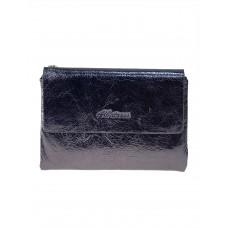 На фото 1 - Женский бумажник из кожи, цвет тёмное серебро