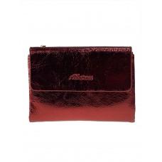 На фото 1 - Женский бумажник из кожи, цвет красный