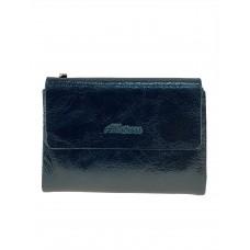На фото 1 - Женский бумажник из кожи, цвет тёмно-зелёный
