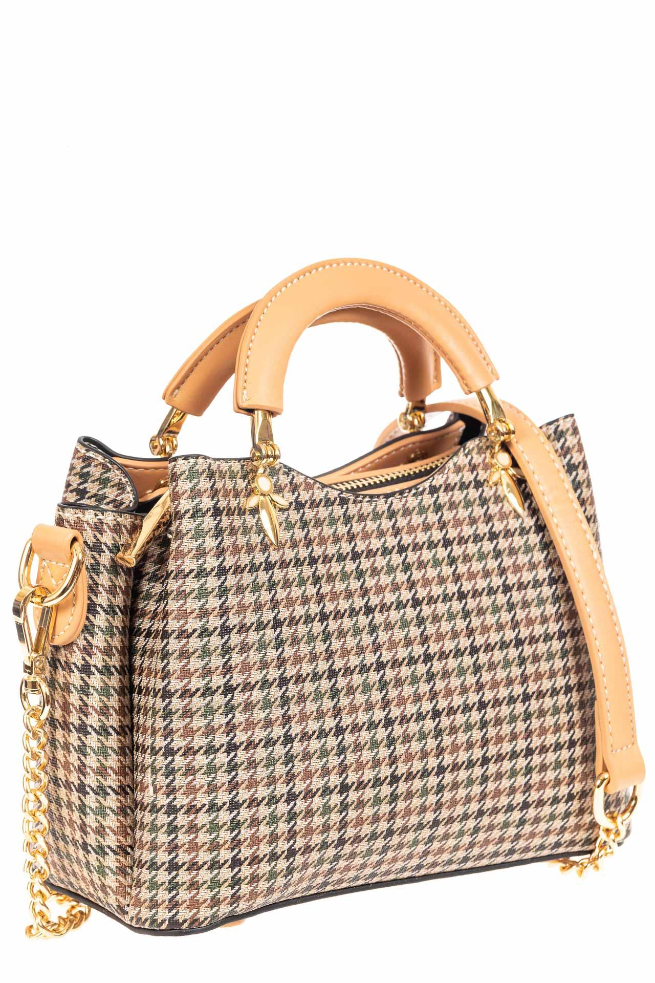 Женская сумка из кожзама с жесткими ручками, цвет бежевый3935MPJ0420/10