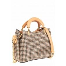 На фото 1 - Женская сумка из кожзама с жесткими ручками, цвет бежевый