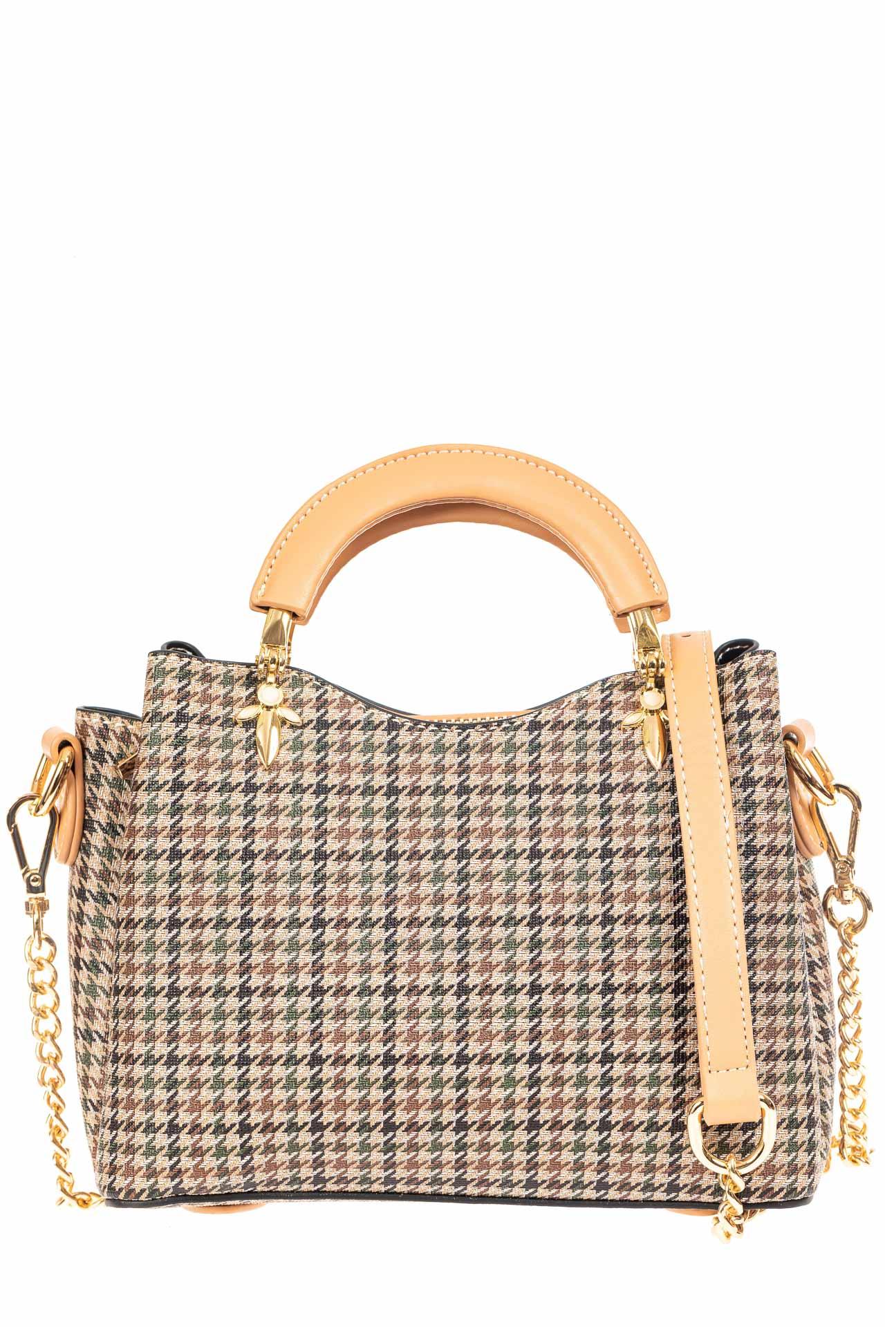 На фото 2 - Женская сумка из кожзама с жесткими ручками, цвет бежевый
