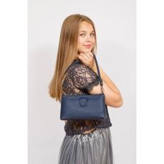На фото 4 - Женский клатч из искусственной кожи, цвет синий