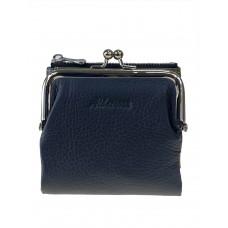 На фото 1 - Кожаный женский кошелёк с фермуаром, цвет чёрный