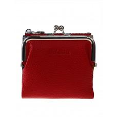 На фото 1 - Кожаный женский кошелёк с фермуаром, цвет красный