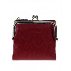 На фото 1 - Кожаный женский кошелёк с фермуаром, цвет бордовый