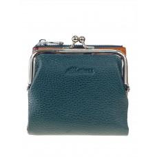 На фото 1 - Кожаный женский кошелёк с фермуаром, цвет зелёный