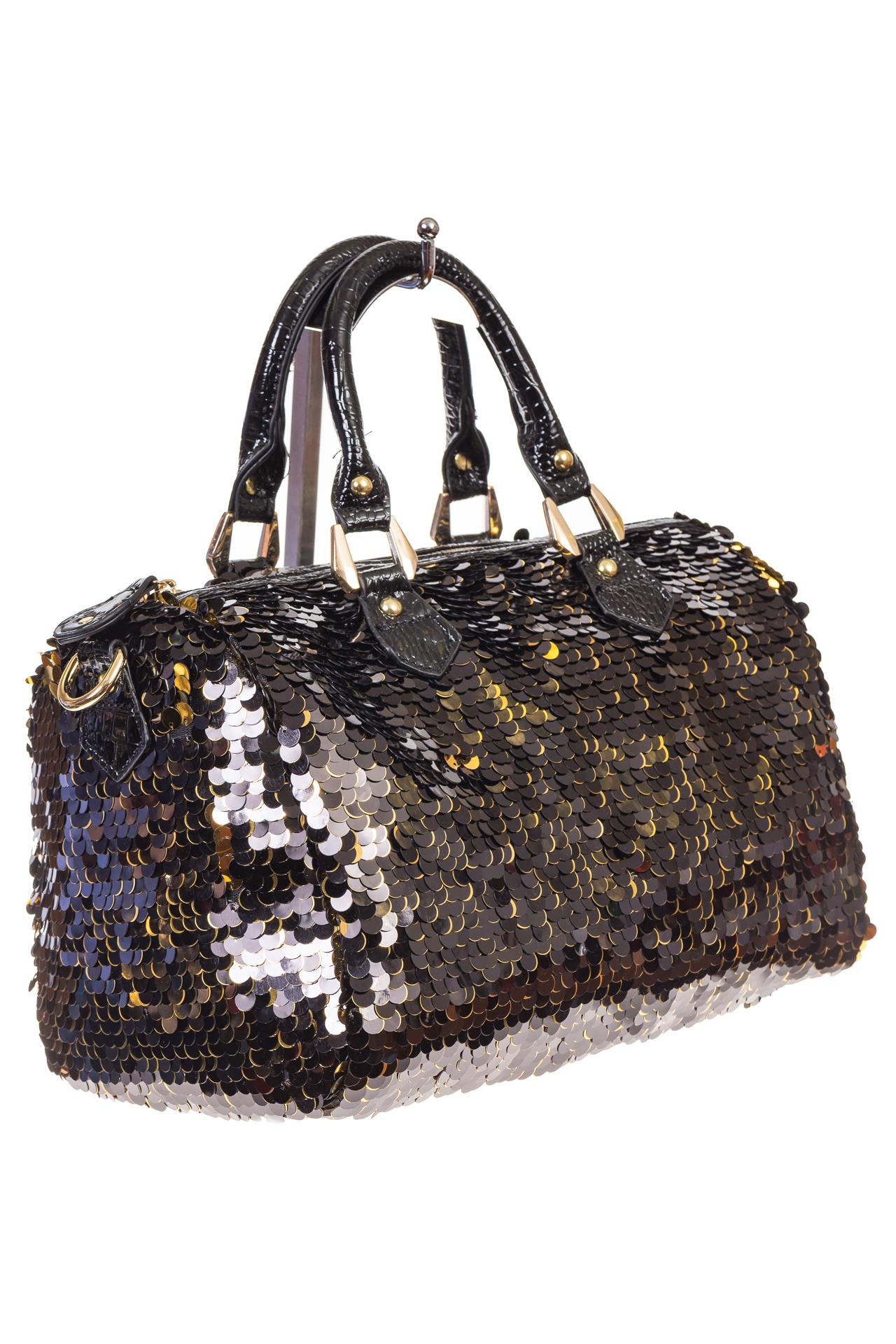 Всесезонная сумка из эко-кожи с пайетками по приятной цене