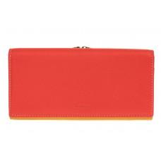 На фото 1 - Двухцветный женский кошелёк-портмоне из натуральной кожи, красный с оранжевым