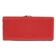 На фото 1 - Двухцветный женский кошелёк-портмоне из натуральной кожи, красный с синим