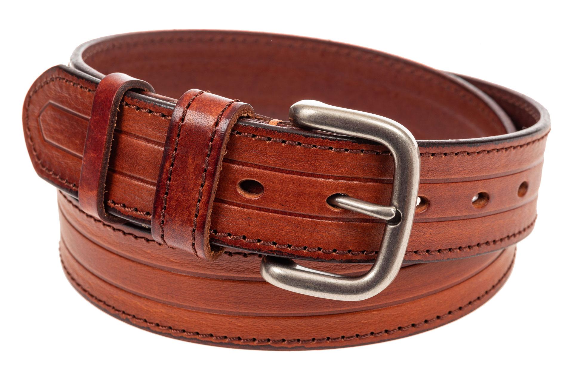 На фото 1 - Кожаный ремень мужской, длина 108 см, цвет рыжий