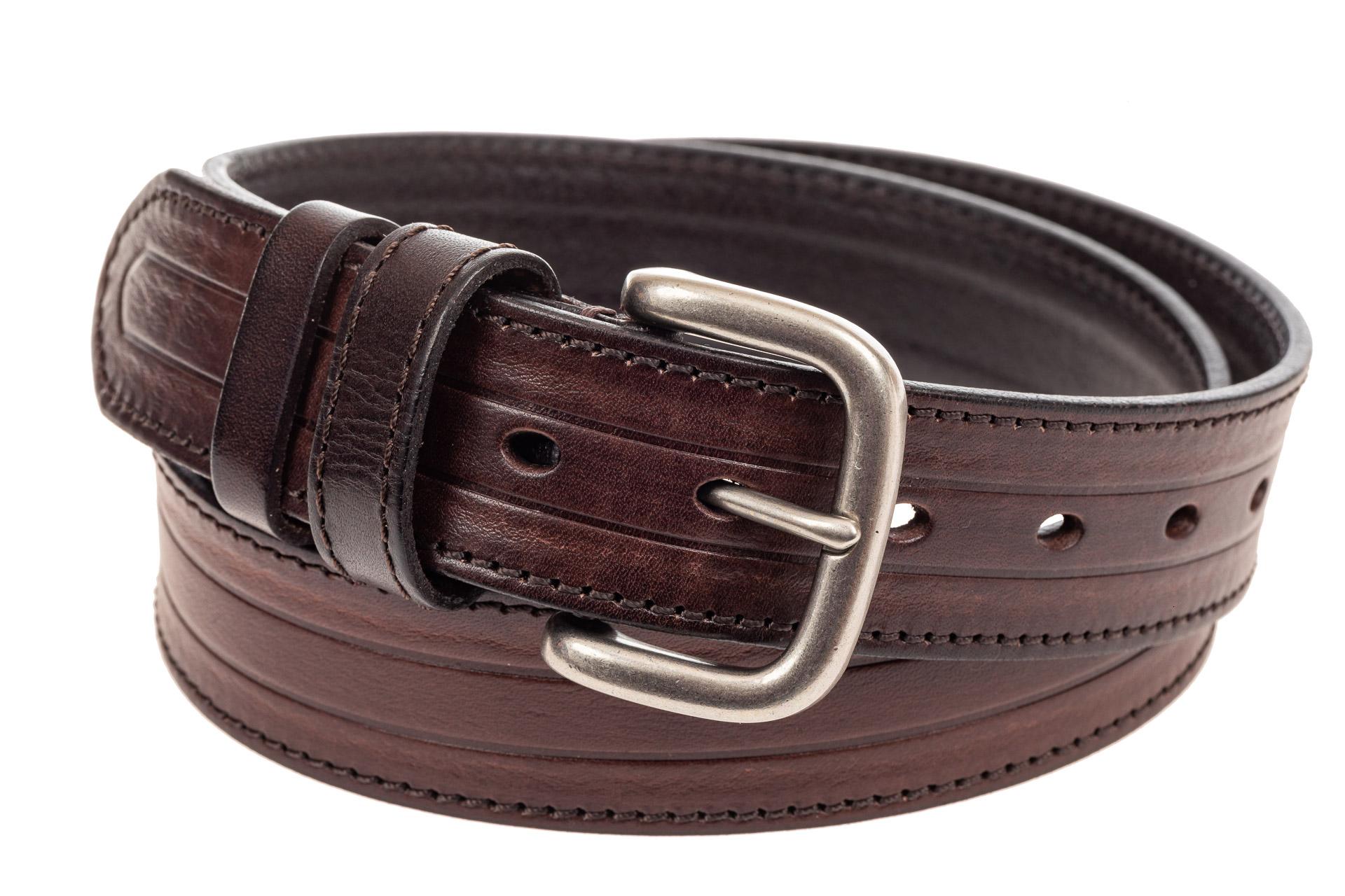 На фото 1 - Кожаный ремень мужской, длина 108 см, цвет коричневый