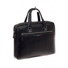 На фото 1 - Строгая мужская сумка из натуральной кожи, цвет черный