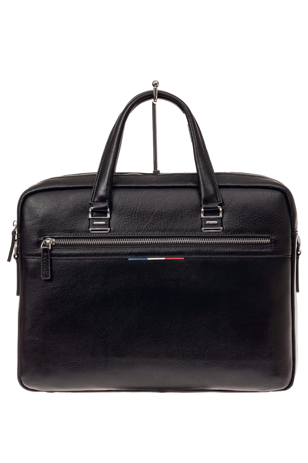 На фото 2 - Строгая мужская сумка из натуральной кожи, цвет черный