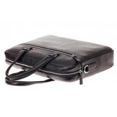 На фото 4 - Строгая мужская сумка из натуральной кожи, цвет черный