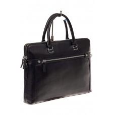 На фото 1 - Деловая мужская сумка из натуральной кожи, цвет черный