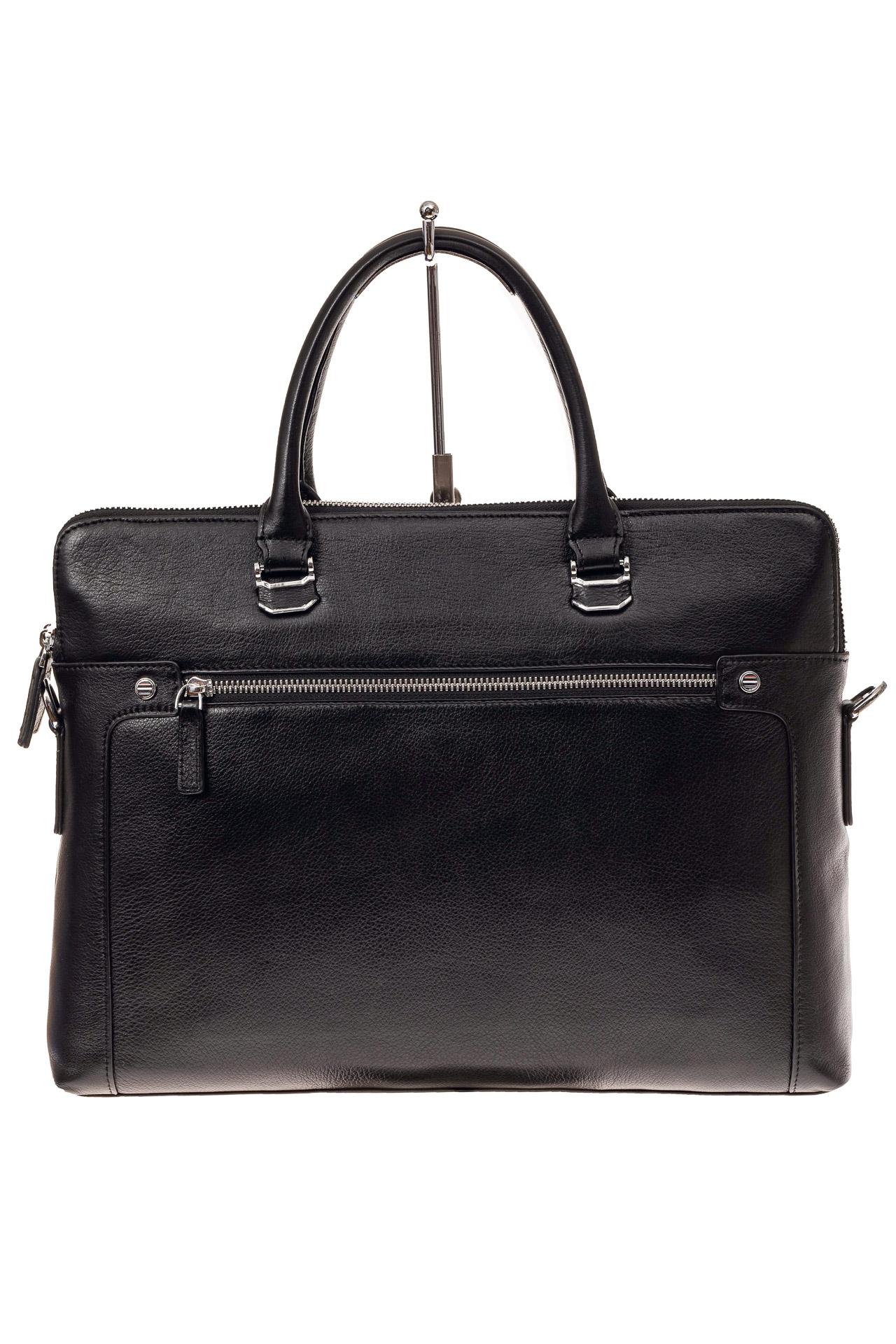 На фото 2 - Деловая мужская сумка из натуральной кожи, цвет черный