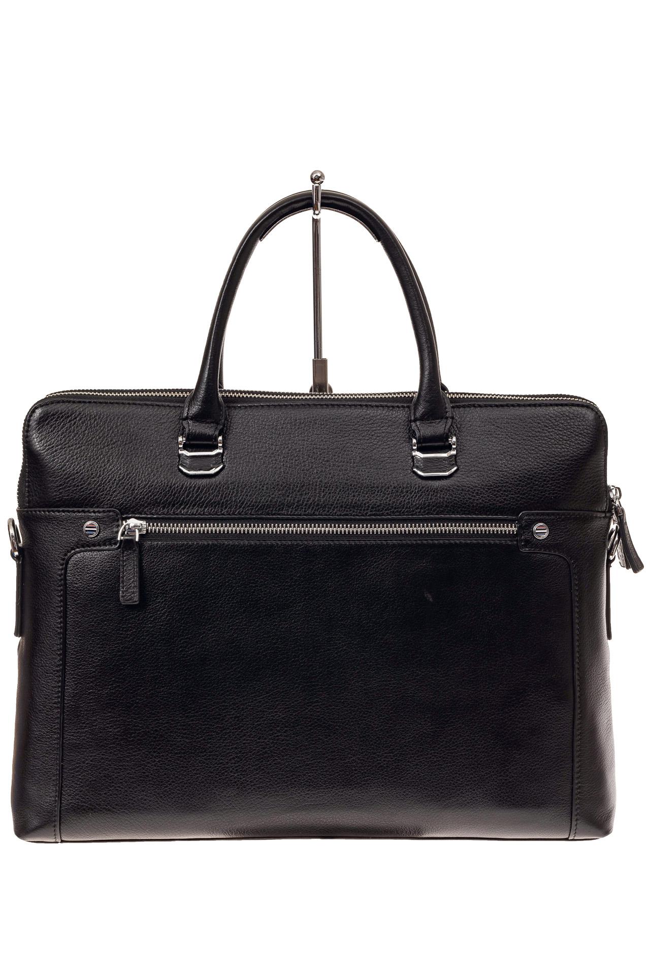 На фото 3 - Деловая мужская сумка из натуральной кожи, цвет черный