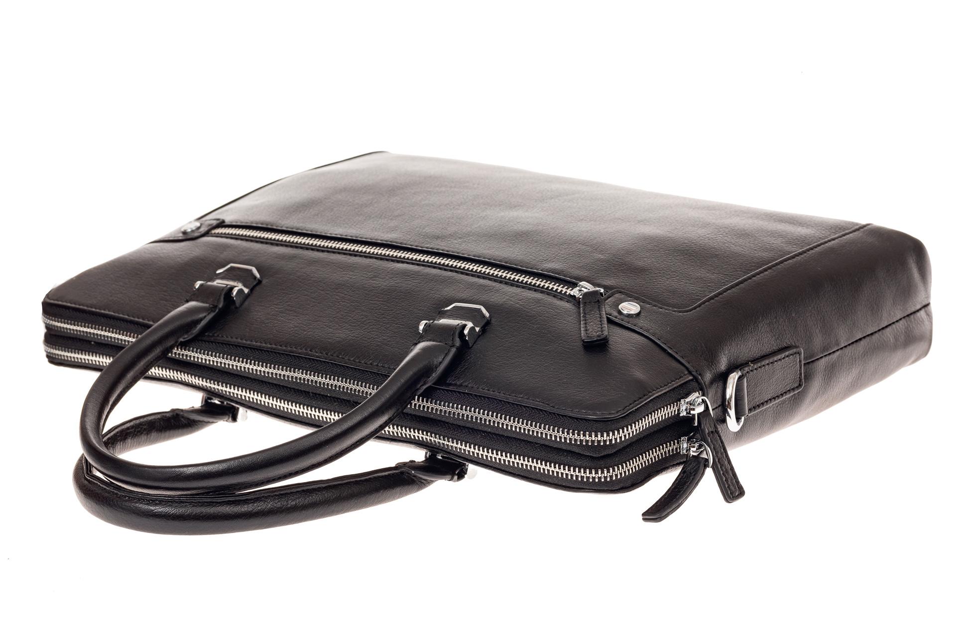 На фото 4 - Деловая мужская сумка из натуральной кожи, цвет черный