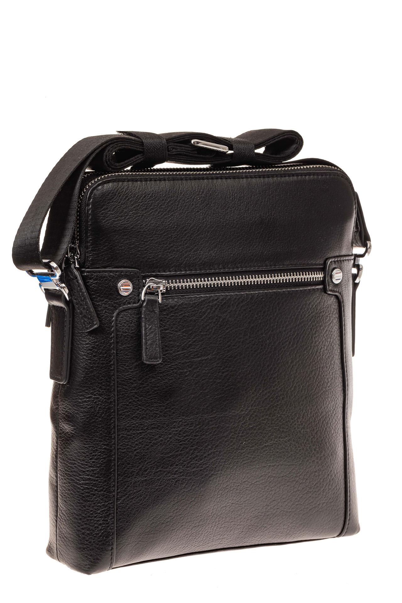 На фото 1 - Мужская сумка через плечо из натуральной кожи, цвет черный