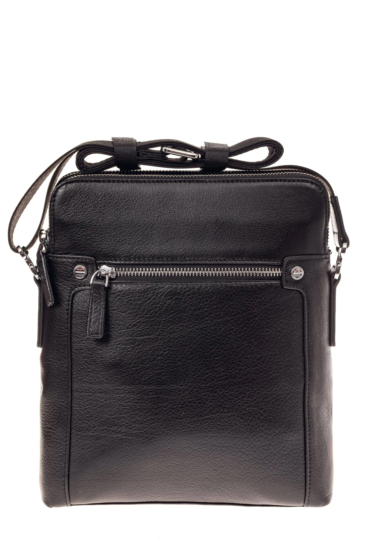 На фото 2 - Мужская сумка через плечо из натуральной кожи, цвет черный